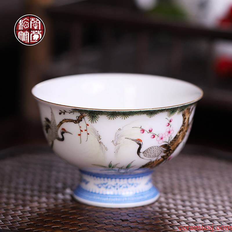 Jingdezhen colored enamel hand - made master cup single cup pure manual thin foetus kung fu tea cups a single pressure hand cup sample tea cup