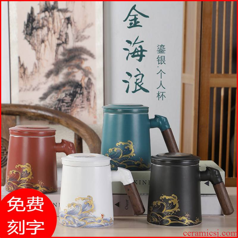 Ceramic keller with cover handle silver cup 999 sterling silver cup portable office make tea cup tea separation