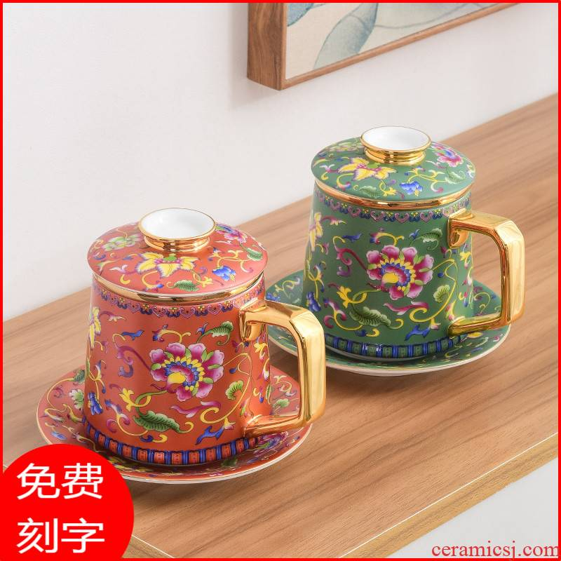 Jingdezhen colored enamel porcelain cups with cover glass tea cup male ms office filtering cup tea separation