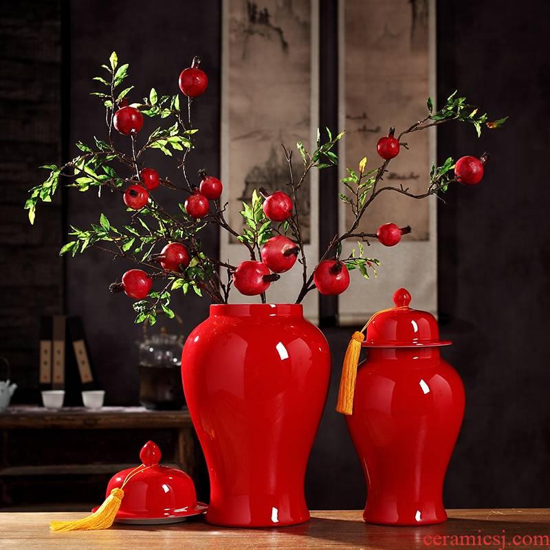 Jingdezhen ceramic tank storage tank general red vase of new Chinese style living room TV ark adornment desktop furnishing articles