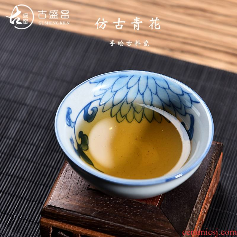 Ancient sheng up jingdezhen hand - made of blue and white porcelain cups tea archaize individual cup sample tea cup master cup single CPU