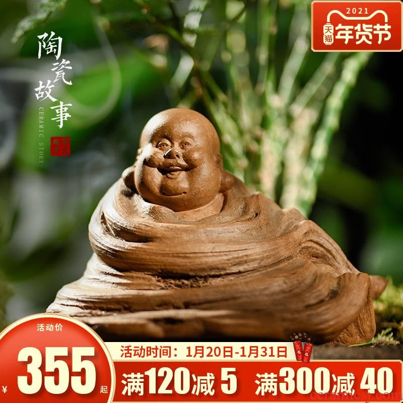 Ceramic story furnishing articles furnishing articles pet boutique tea can keep violet arenaceous tea zen tea young monk bodhidharma maitreya Buddha