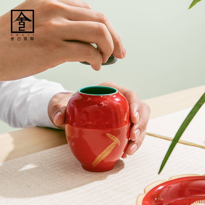 """The Self - """"appropriate content caddy fixings gold feather jing red POTS Japanese porcelain pot small sealed as cans of jingdezhen"""