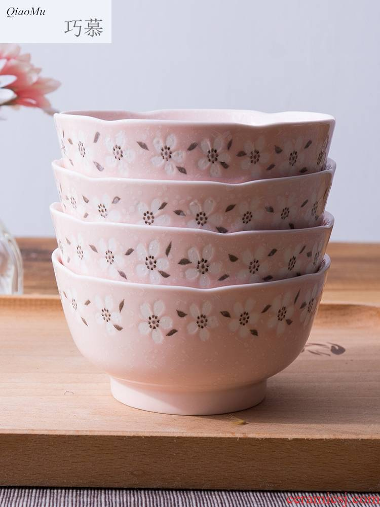 Qiao mu Japanese noodles bowl of domestic large creative rainbow such as bowl dessert ceramics dishes set tableware bowls bowl