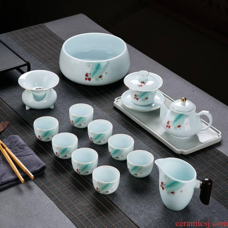 Tea set Tea service household contracted suet jade white porcelain of jingdezhen ceramics kongfu Tea tureen teapot