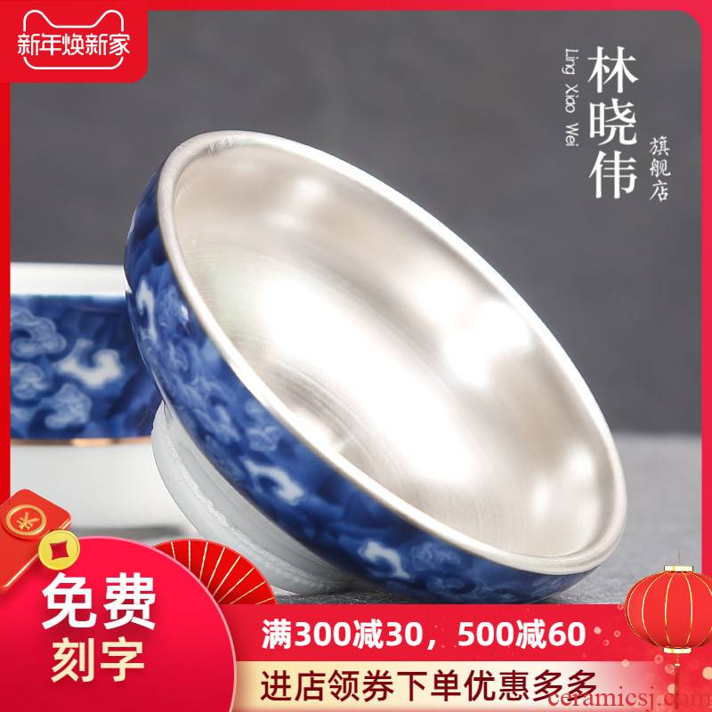 Jingdezhen colored enamel ceramic) filter in hot tea tea tea tasted silver gilding kung fu tea accessories filter
