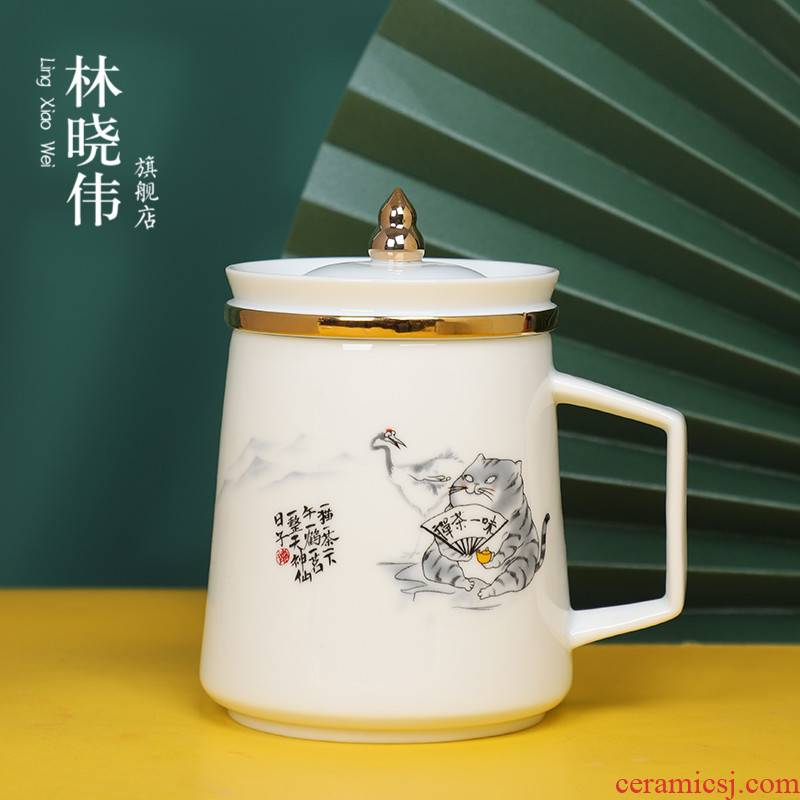 Japanese teacup creative high mark cup cup appearance level web celebrity office ceramic tea cup with cover the custom