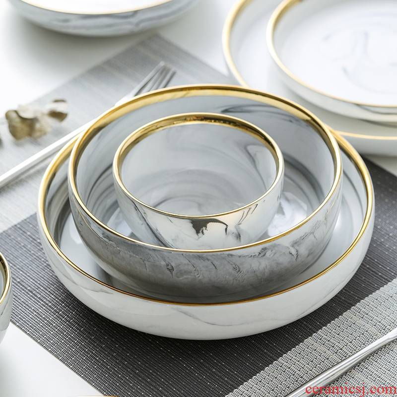 Qiao mu MLJ northern wind up phnom penh marble ceramic tableware plate dishes suit household food dish bowl soup bowl