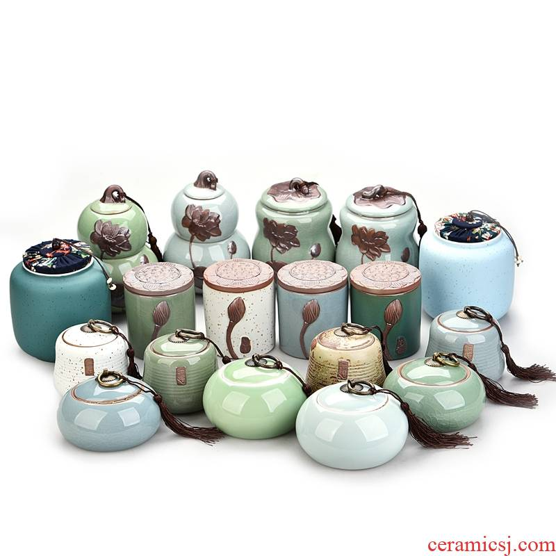 Hui shi pu 'er tea caddy fixings ceramics seal storage tank size portable travel tea tea boxes