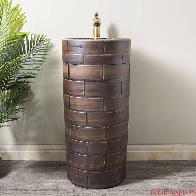 Ceramic column basin restoring ancient ways of household toilet lavatory basin sink 8 balcony is suing floor one column