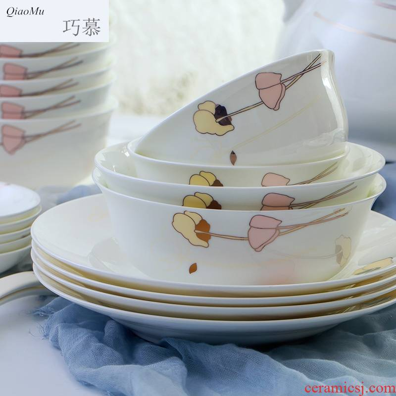 Qiam qiao mu 56 skull porcelain tableware suit dishes home dishes suit contracted and pure and fresh and jingdezhen ceramics