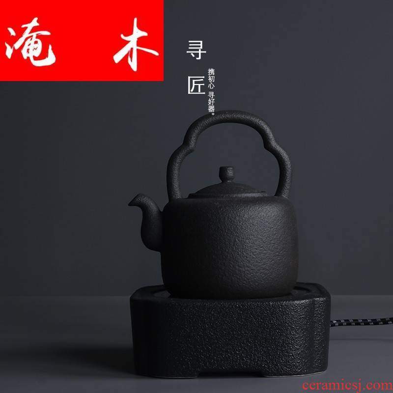 Submerged wood, black pottery cooking pot coarse pottery pot of electric kettle ceramic high - capacity girder TaoLu boiled tea, kungfu tea set