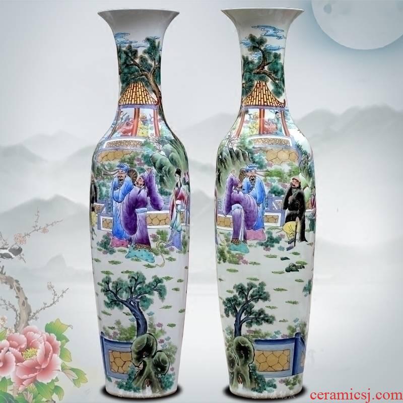 Jingdezhen ceramic hand - made pastel ensemble of large vase home sitting room hotel Chinese large - sized furnishing articles
