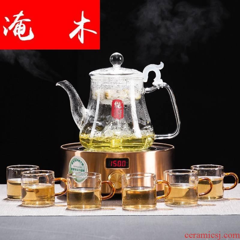 Submerged wood glass cooking pot steam boiling tea, black tea automatic steamed tea, puer tea with tea machine electricity TaoLu