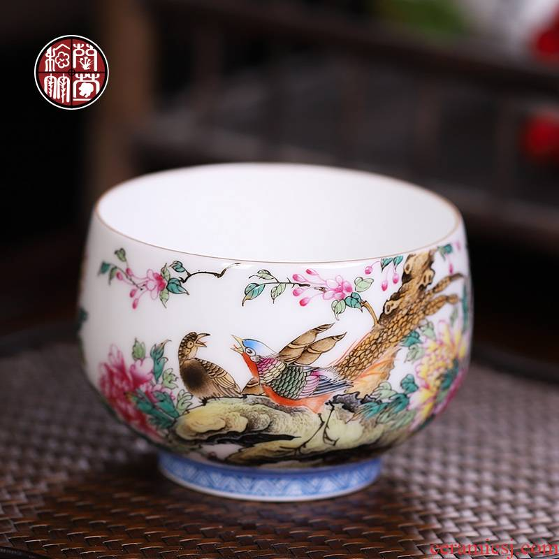 Jingdezhen ceramic kung fu tea cup pure manual colored enamel hand - made master cup getting thin foetus meditation cup single cup size