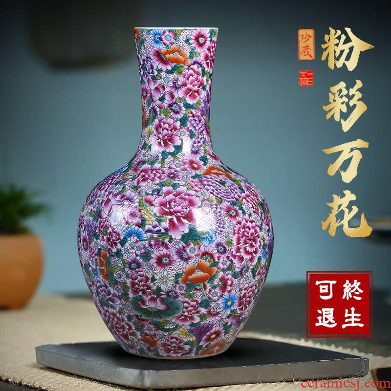Jingdezhen ceramic vase on the celestial sphere pastel large sitting room be born Chinese style household decorative flower arranging office furnishing articles