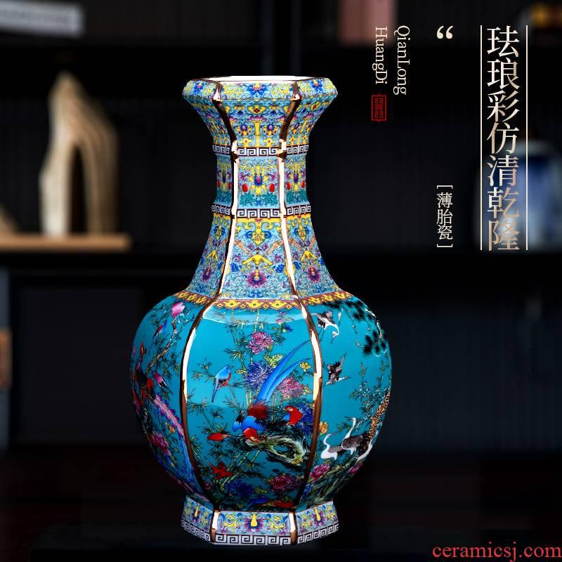 Jingdezhen ceramic vase furnishing articles imitation qianlong Chinese style restoring ancient ways is colored enamel flower arranging desktop rich ancient frame sitting room adornment
