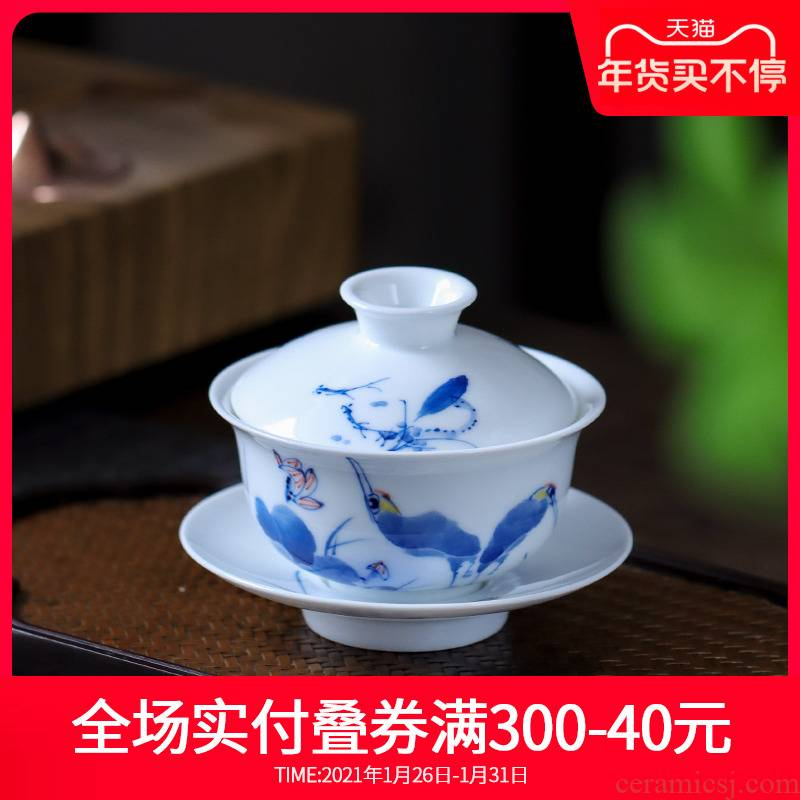 Hand - made ceramic tureen jingdezhen blue and white porcelain cups three bowl of hot white porcelain Hand not only catch a bowl of tea