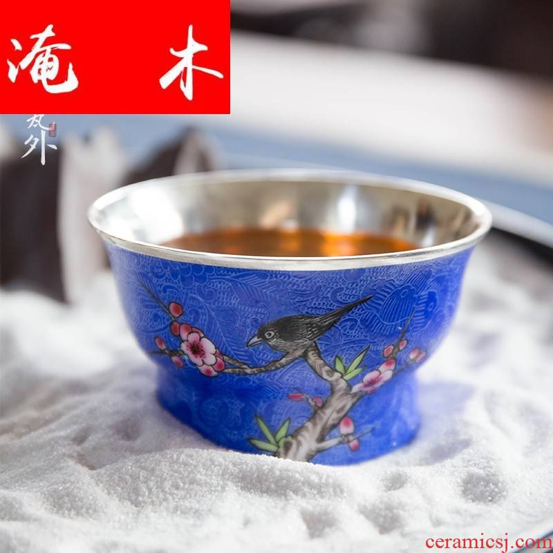 Submerged wood colored enamel kung fu tea cups of jingdezhen ceramic/sterling silver steak hand - made master famille rose tea set sample tea cup