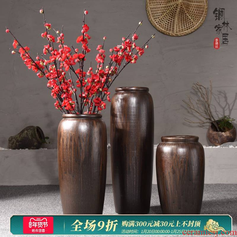Ground vase large antique dry plug-in simulation flower POTS Chinese style restoring ancient ways is the sitting room porch place jingdezhen ceramics