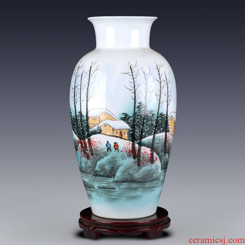 Jingdezhen ceramics hand - made vases large famous checking art furnishing articles sitting room of the new Chinese style household adornment