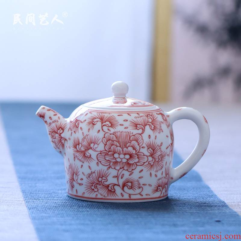 Jingdezhen ceramic hand - made under the glaze the teapot in the glaze red peony kung fu tea set dahongpao tea