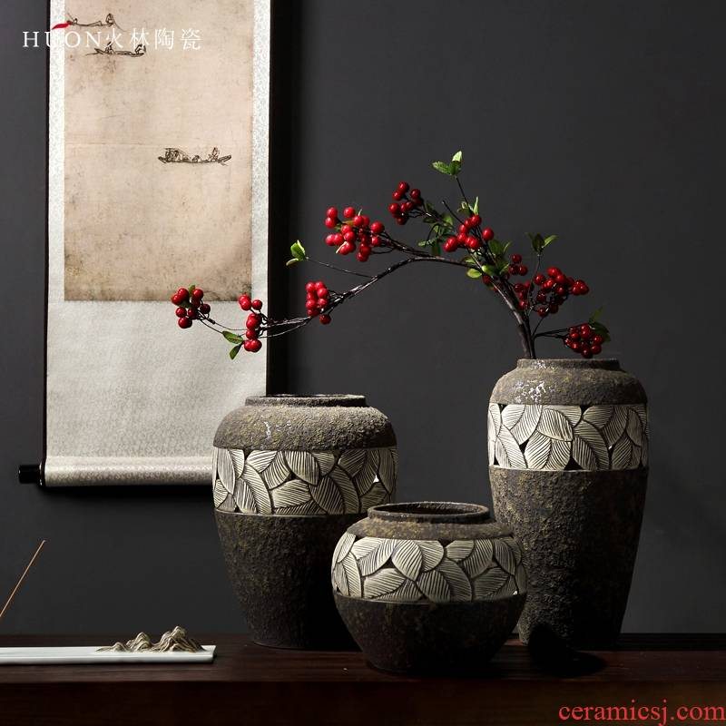 Manual pottery coarse TaoHua restoring ancient ways is the dried flower arranging furnishing articles zen tea room vases, ceramic flower pot clay POTS