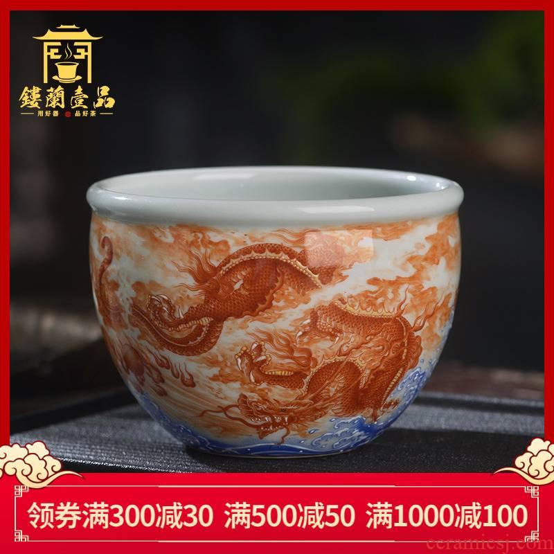 Jingdezhen ceramic all hand - made alum red blue black dragon sea cylinder cup kung fu tea tea cup large master CPU