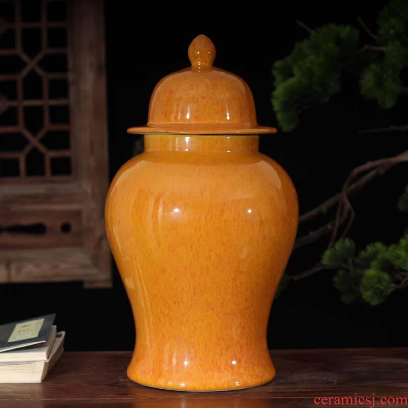 Jingdezhen up general orange blue as cans of soft adornment display general general warm pot