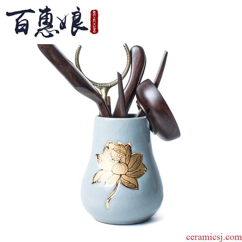 (niang tea six gentleman coarse pottery craft pen container 6 gentleman barrel gold craft ceramic kung fu tea tea