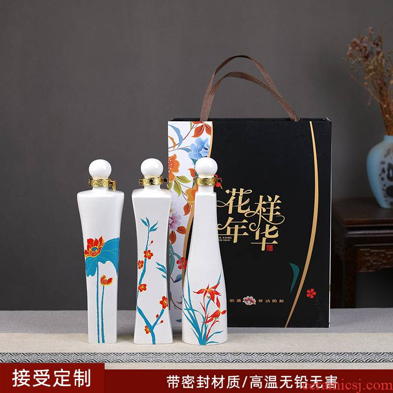 Jingdezhen ceramic creative 1 catty bottle liquor wine bottle seal wine jars wine gift set with gift box