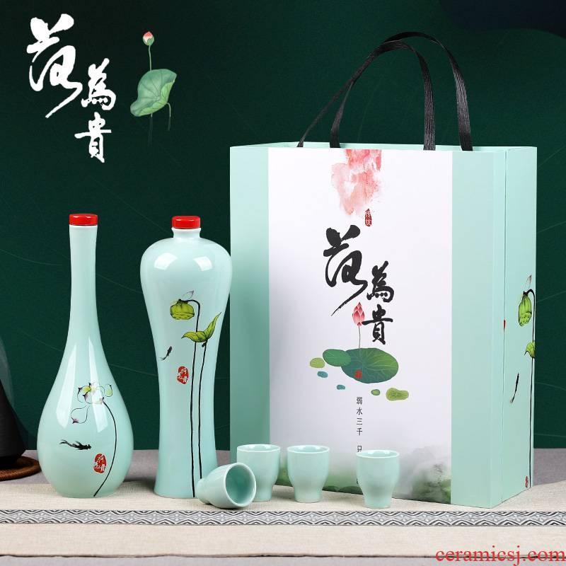 Small ceramic bottle is empty wine bottle decoration gift wine 1 catty sealed bottles wine cellar wine jar