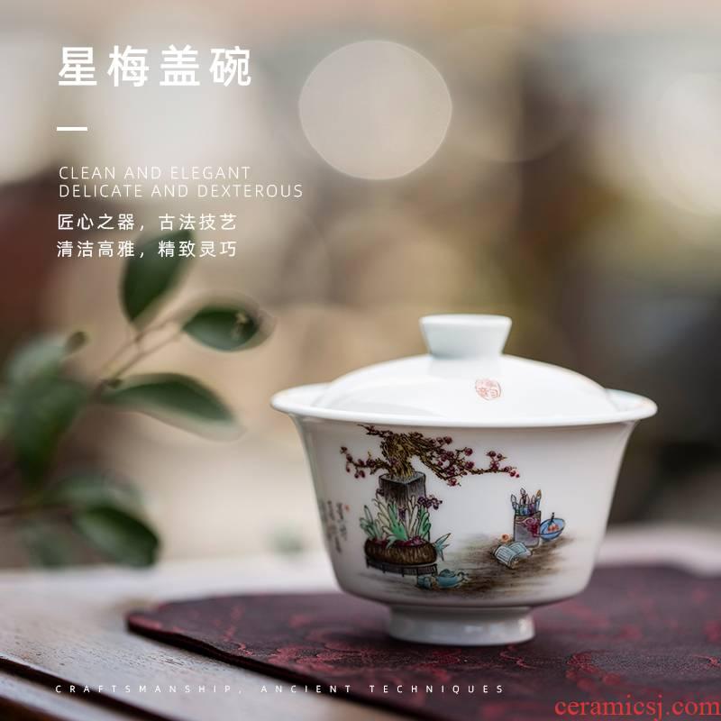 Mountain sound star mei just tureen jingdezhen pure manual painting two just tureen kunfu tea tureen individual cups