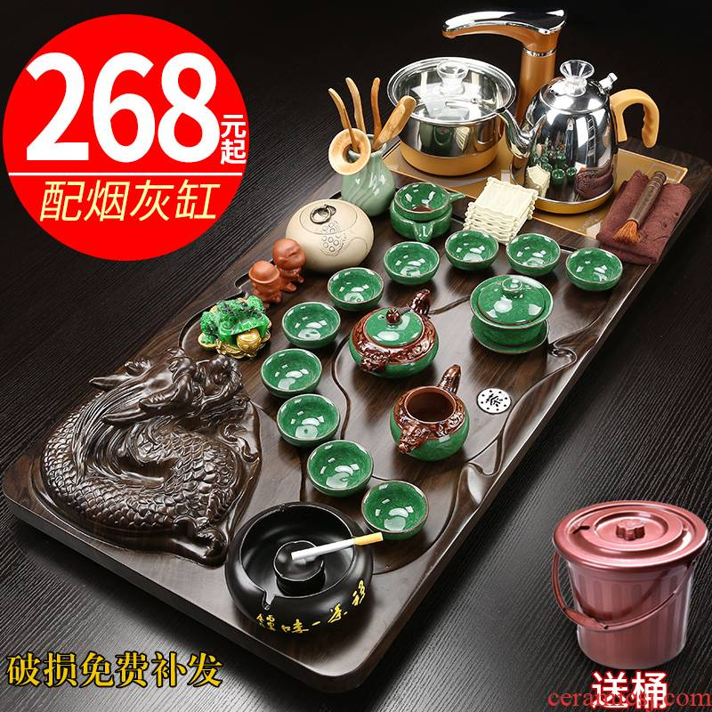 Hui shi ceramic kung fu tea set suit household contracted magnetic electric furnace tea cups tea complete set of solid wood tea tray