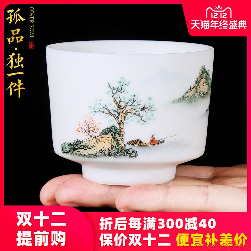 The Master artisan fairy orphan works TaoXi hand - made jade porcelain ceramic cups, household cup sample tea cup kung fu masters cup
