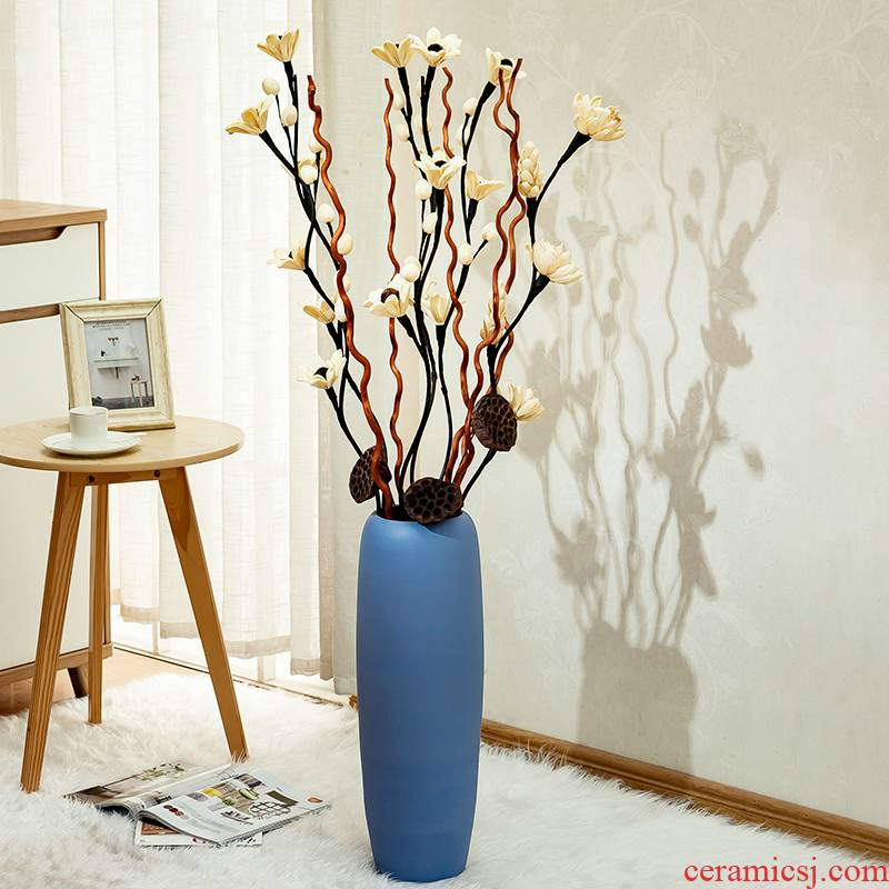 Jingdezhen sitting room porch European contracted large simulation flower arranging power ground vase vase decoration furnishing articles
