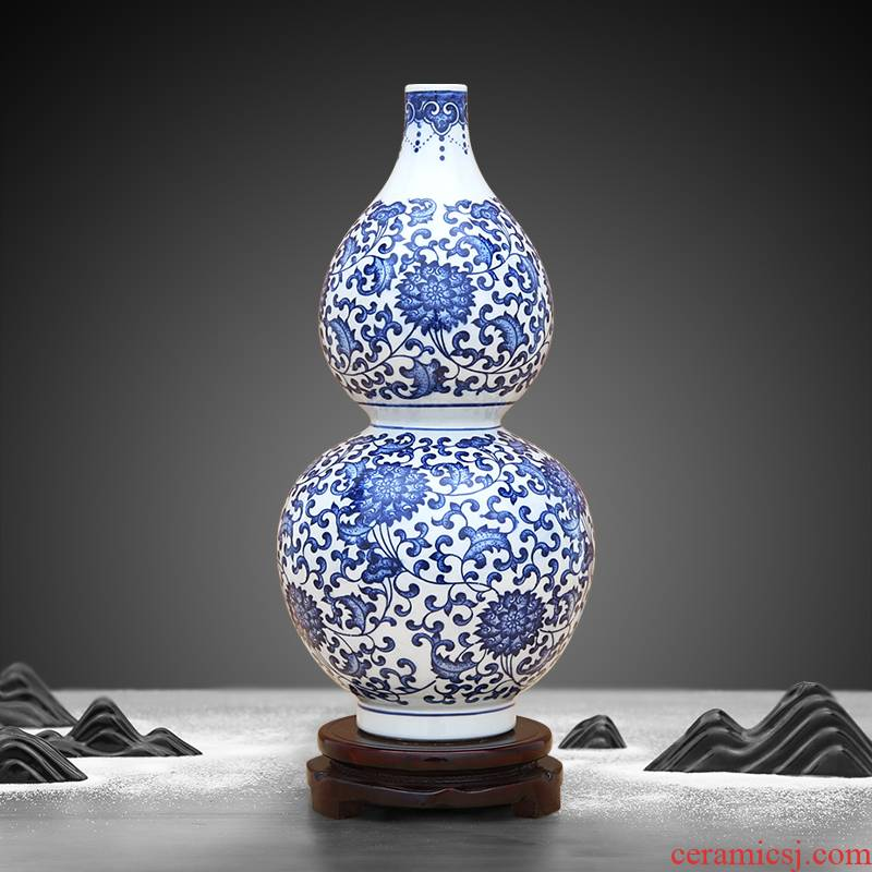 Jingdezhen blue and white porcelain vase bound branch lotus ceramics grain gourd bottle of feng shui furnishing articles furnishing articles sitting room adornment
