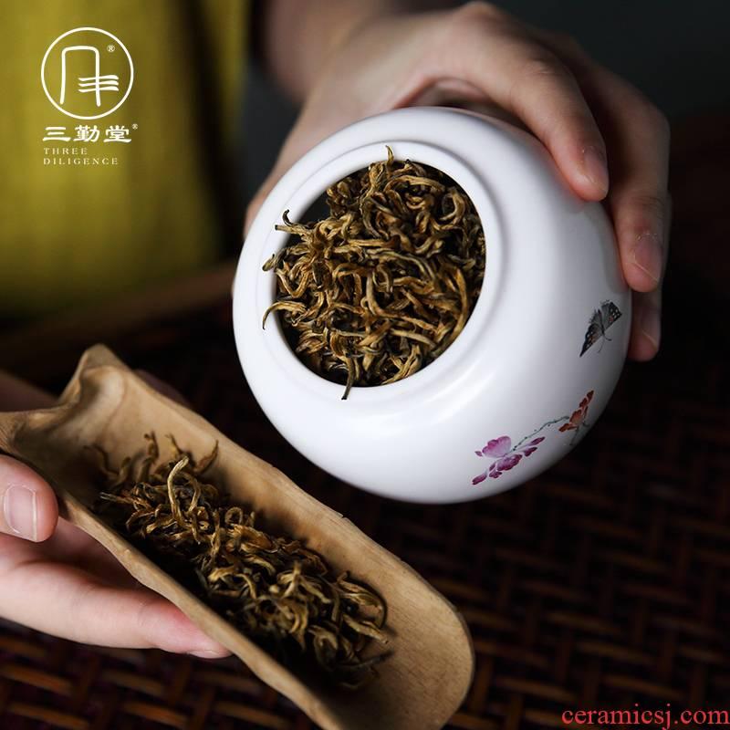 The three regular caddy fixings tea warehouse number in ceramic POTS of jingdezhen S52010 kung fu tea set seal tank size