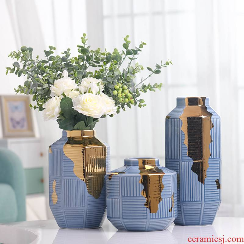 Modern Nordic light and decoration vase sitting room creative artical table soft outfit dried flowers flower arrangement ceramic furnishing articles
