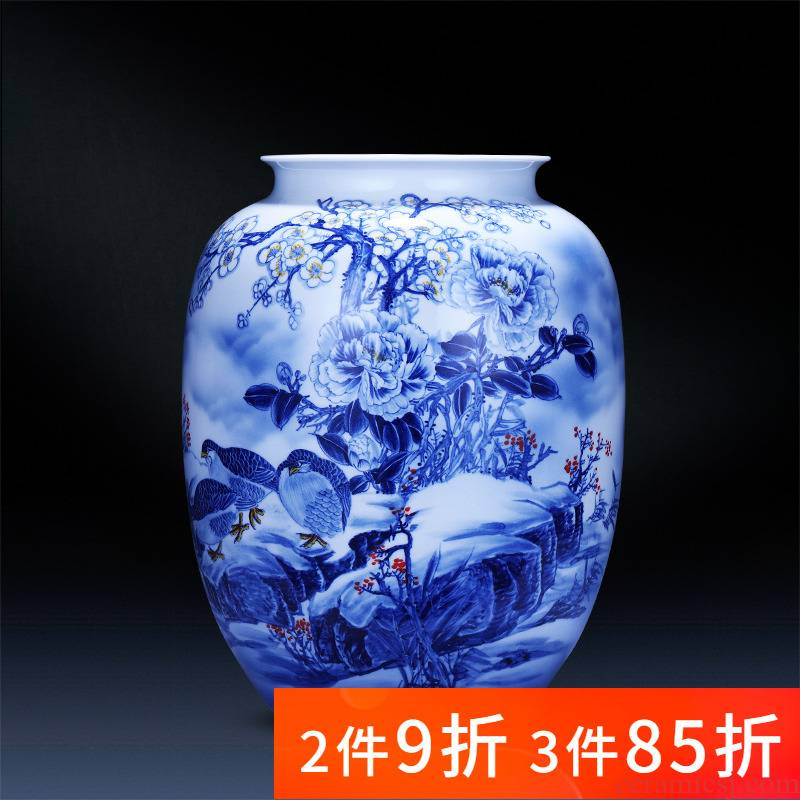 Jingdezhen ceramics hand - made of blue and white porcelain vase big bottles of the sitting room TV cabinet decoration of Chinese style household furnishing articles