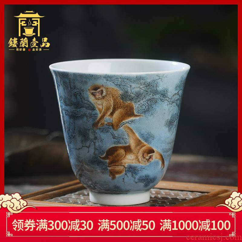 Jingdezhen ceramic all hand - made pastel spirit monkey catch from the master cup kung fu tea tea tea, personal single CPU