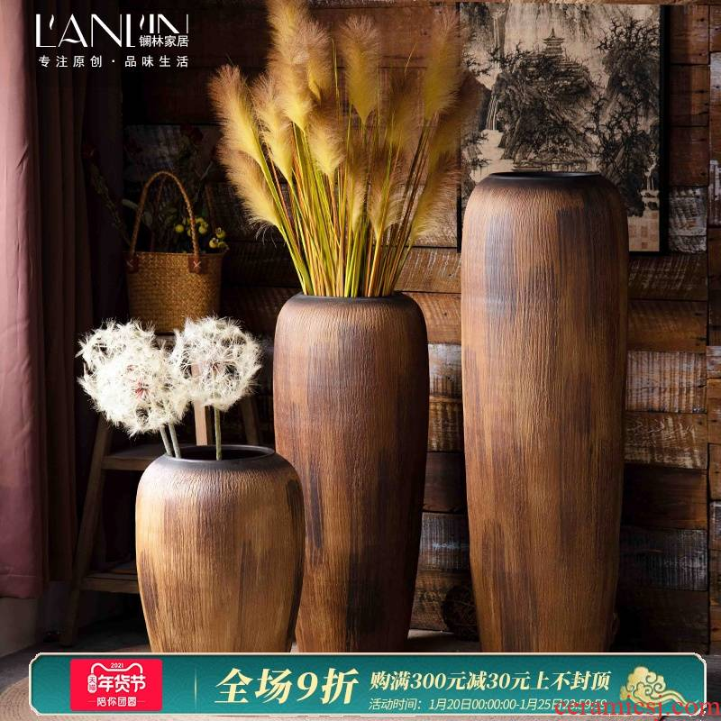 Retro ceramic vase large landing zen rural home sitting room porch soft outfit dried flower adornment furnishing articles