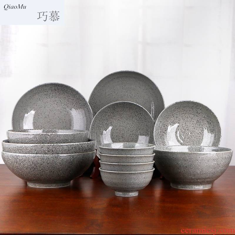 Qiao mu cutlery sets, try dishes suit household ceramic bowl Chinese style of ipads soup bowl bowls plates