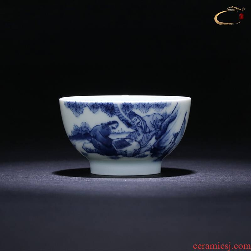 Jingdezhen blue and white SongYin and auspicious day of kung fu master cup cup of pure manual single CPU hand - made teacup