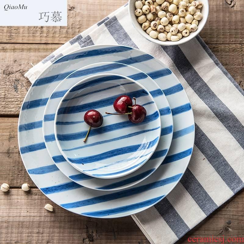 Qiam qiao mu Japanese creative household ceramics ceramic plate fresh beef dish dish to Karen FanPan plate