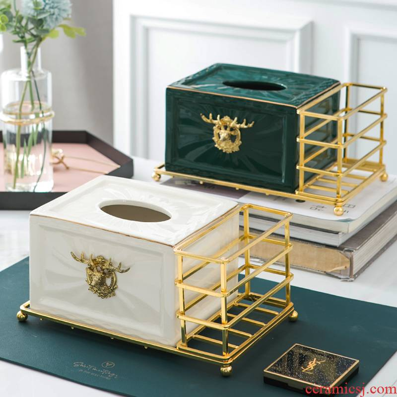 Home sitting room multifunctional paper suction box remote control to receive American tea table box creative high - grade ceramic tissue boxes of key-2 luxury