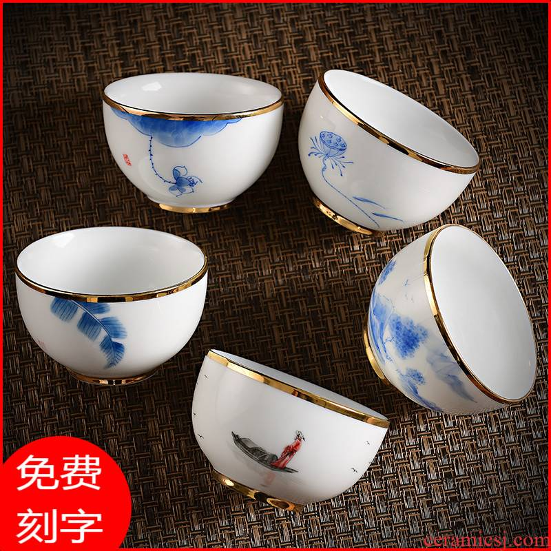 White porcelain teacup hand - made sample tea cup bowl large kung fu tea masters cup pure small jade porcelain tea cups to wash by hand