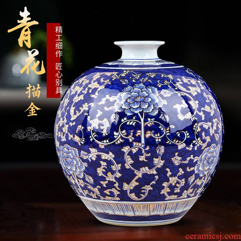 The see colour blue and white porcelain of jingdezhen ceramics hand - made vases, flower arrangement, The sitting room of Chinese style household adornment table furnishing articles