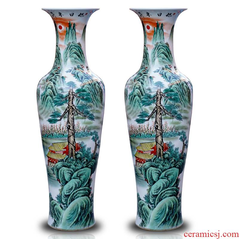 Sun dongsheng jingdezhen ceramics hand - made pastel landscapes of large vases, sitting room of Chinese style household furnishing articles