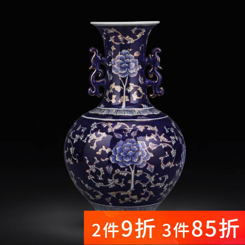 Jingdezhen ceramics hand - made paint large blue and white porcelain vase light modern key-2 luxury home sitting room adornment is placed